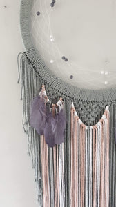 Modern mooncatcher in grey with feather and bead details
