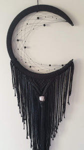 Black beaded mooncatcher with crystal