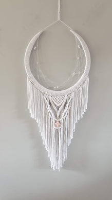 Pure white dream catcher with crystal.