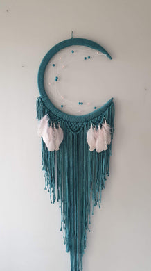 Pretty teal green moon dreamcatcher
