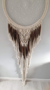 Macrame and feathered dreamcatcher