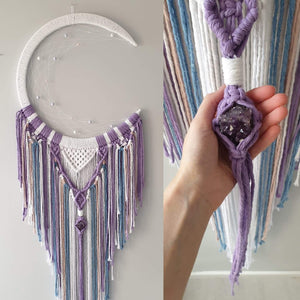 Unicorn coloured moon catcher with Amethyst  crystal