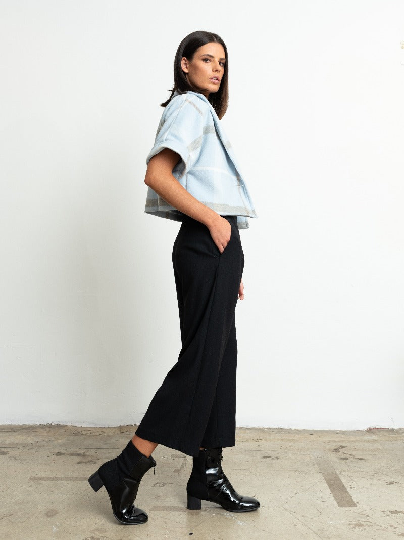 1-Hudson Wide Leg Pants-Black crepe