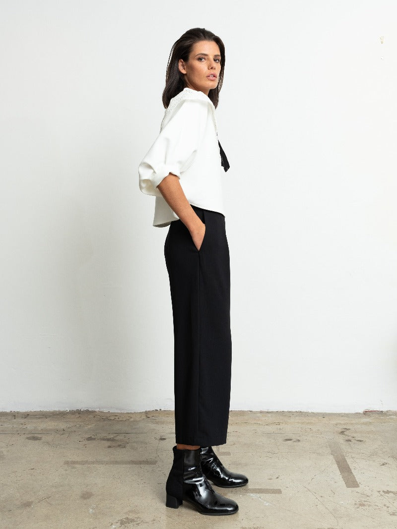1-Cropped Wide Leg Pants-Black