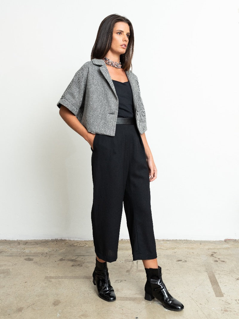1-New York Wide Leg Pants-Black crepe/leather