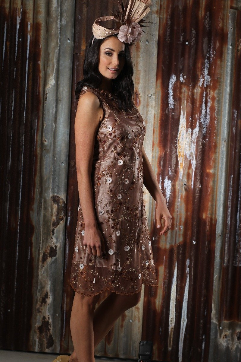 2-01184 Brown and Gold Lace Dress - Ruth Tate