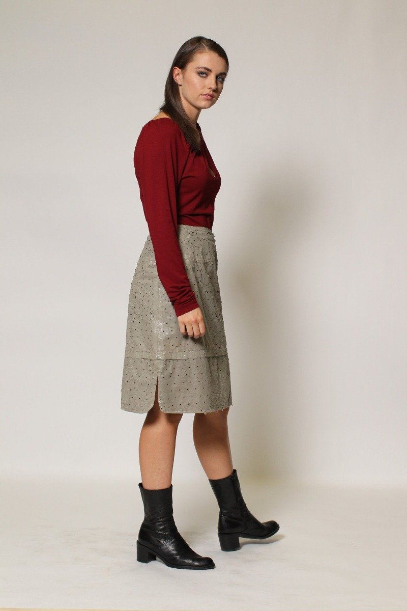 3-0383A Curved Hem Skirt- Laser cut - Ruth Tate