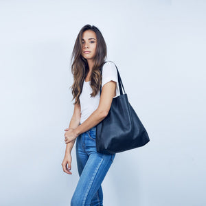 Black Nappa Bespoke Tote by Charlie Middleton
