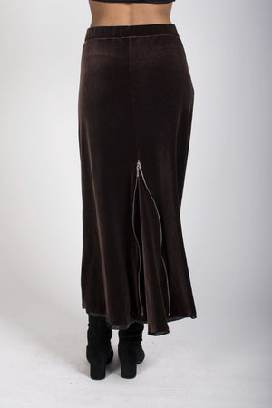 1-0388 Velvet Riding Skirt-mocha - Ruth Tate