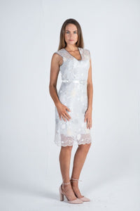 1-01134 Silver Lace Dress - Ruth Tate