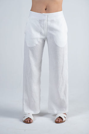 1-0419 Wide Leg Linen Pants-White - Ruth Tate