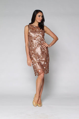 1-01184 Brown and Gold Lace Dress