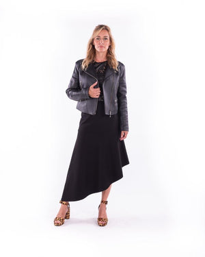 Leather Biker Jacket-Black