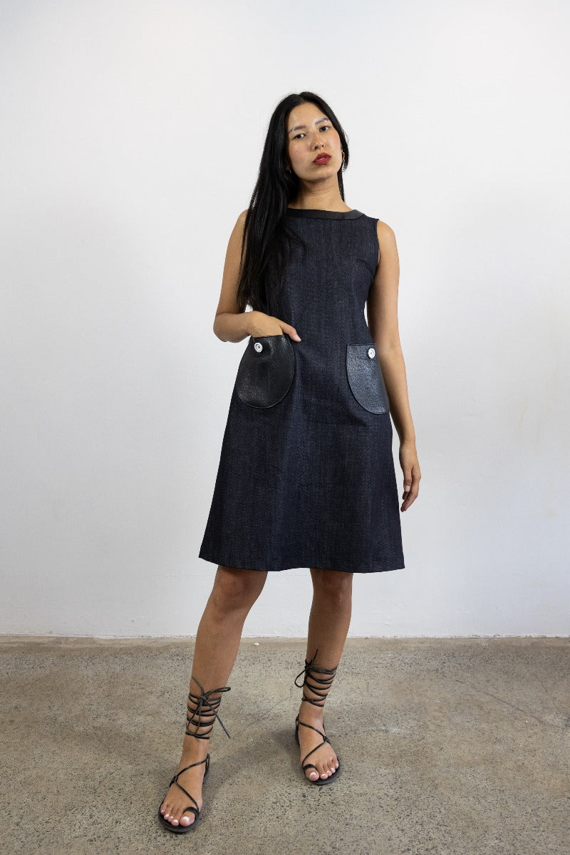 1-Audrey dress-denim and leather Black