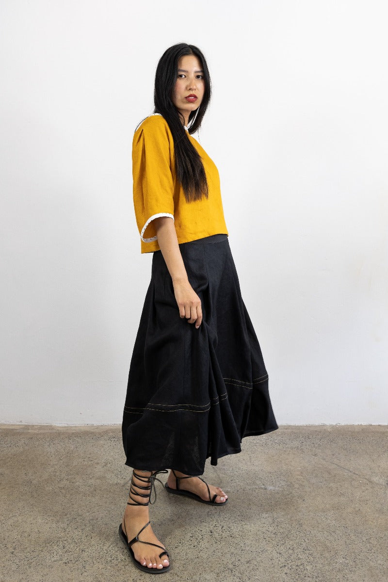 1-Riley skirt -black linen