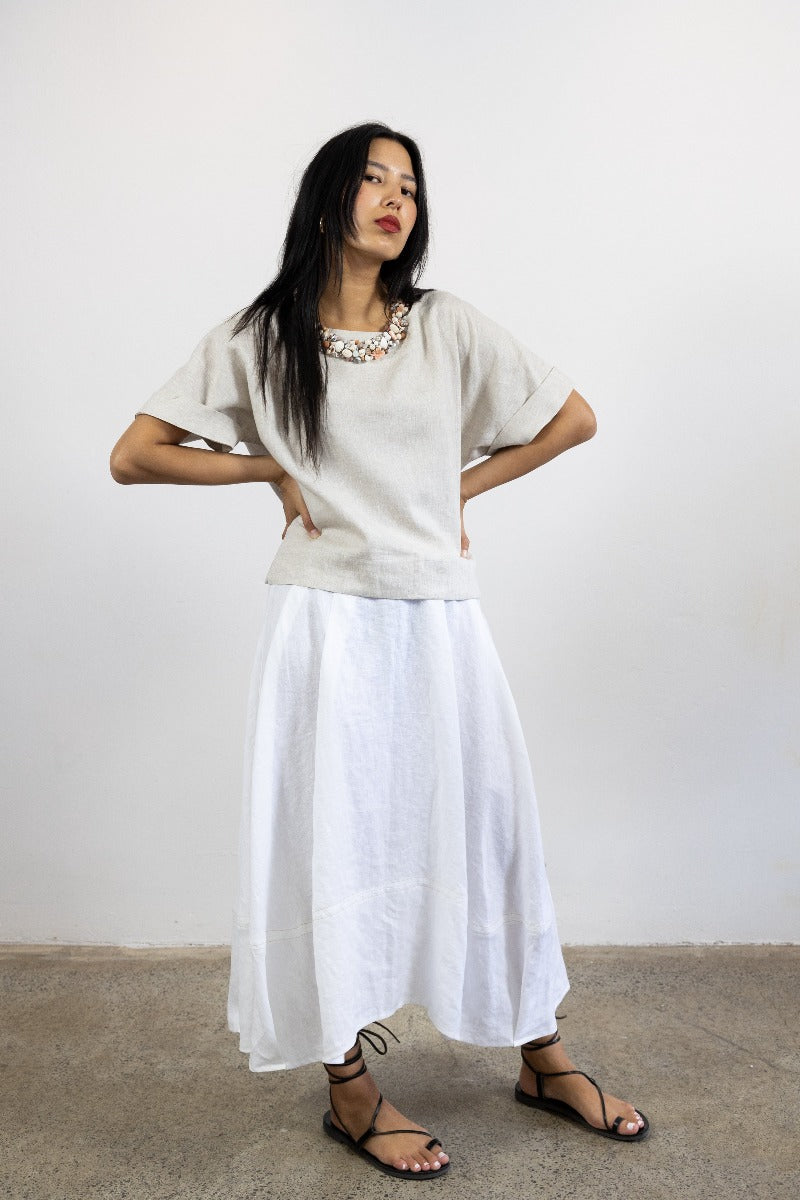 1-Riley skirt -white linen