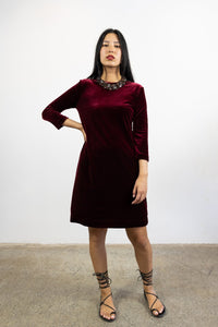 1-Lucia short velvet dress-red