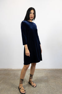 1-Lucia short velvet dress-navy