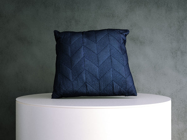 Cushion - Blue Pattern Stitched
