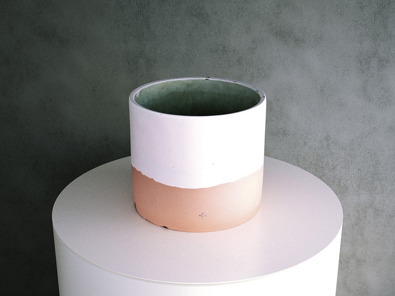 Concrete Pot - Pink two-tone