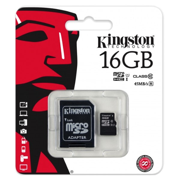 Memoria Kingston MicroSDHC C10 16GB con adaptador SD