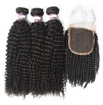 Kinky Curly Brazilian Virgin Hair Lace Closure with 3 pcs Bundles