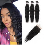 Deep Wave Brazilian Virgin Hair Lace Closure with 3 pcs Bundles