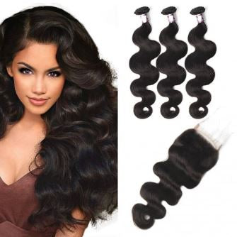 Body Wave Brazilian Virgin Hair Lace Closure with 3 pcs Bundles