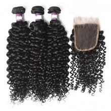 Load image into Gallery viewer, Curly Brazilian Virgin Hair Lace Closure with 3 pcs Bundles