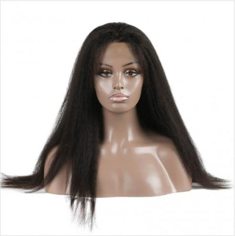 Kinky Straight Brazilian Virgin Hair Lace Front Wig