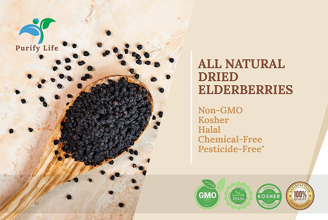 Wildcrafted Dried Elderberries - Bulk Supply - 1lb - Natural High Quality Ingredients