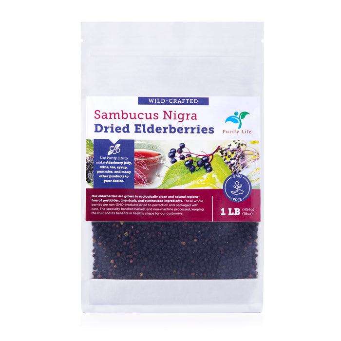 Dried Elderberries - Wildcrafted - 1lb
