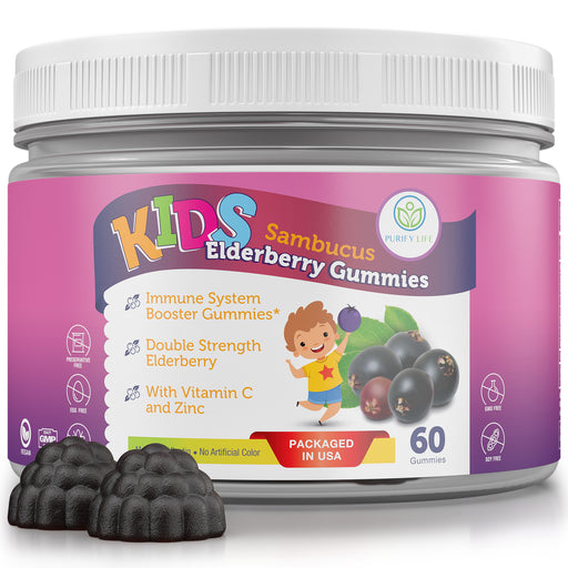 Kids Elderberry Gummies With Zinc and Vitamin C - Premium Immune Support Chewable Gummy for Kids Age 2-13