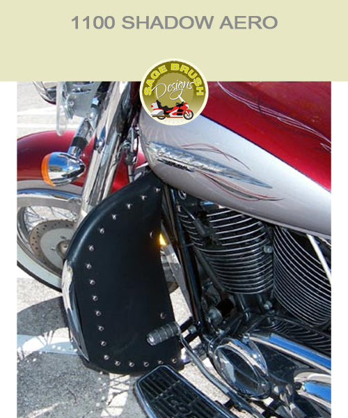 Honda 1100 Shadow Aero with black studded engine guard chaps