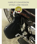 Dyna Low Rider black vinyl engine guard chaps for Lindy Multibar
