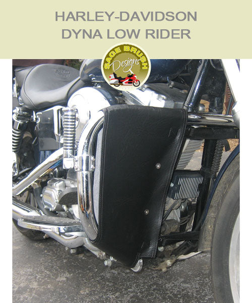 Dyna Low Rider OEM 49218-01 bar with black vinyl engine guard chaps