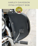 Dyna Street Bob OEM bar with forward controls with black engine guard chaps