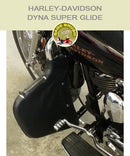 Dyna Ssuper Glide Multibar black engine guard chaps with cutout