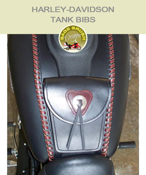 Dyna Street Bob Large Tank Bib with custom colour side lacing, a customized concho, and pocket