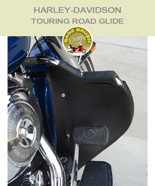 Harley-Davidson Touring Road Glide FLH OEM mustache with cutout black engine guard chaps