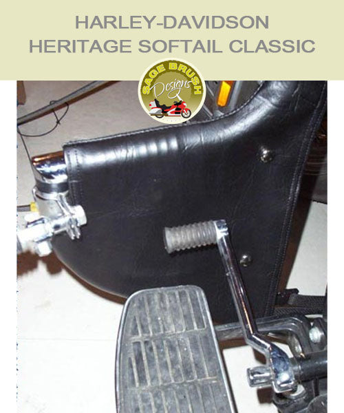 Heritage Softail Classic Lindy Linbar with black engine guard chaps