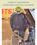 Heritage Softail Classic Cobra Regular bar with black engine guard chaps