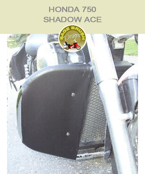 Honda 750 Shadow ACE  with black vinyl engine guard chaps
