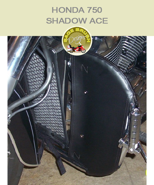 Honda 750 Shadow ACE  Highway Hawk with black engine guard chaps