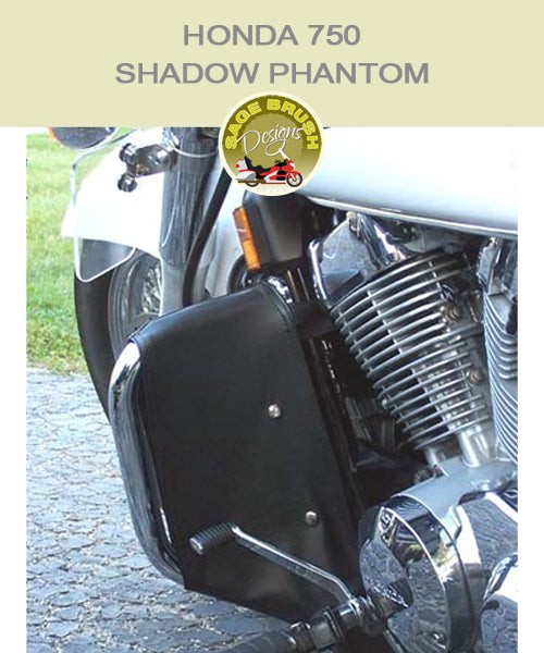 Honda 750 Shadow Phantom Paladin National Cycle bar with black engine guard chaps