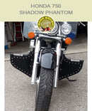 Honda 750 Shadow Phantom Lindy Linbar with black studded engine guard chaps