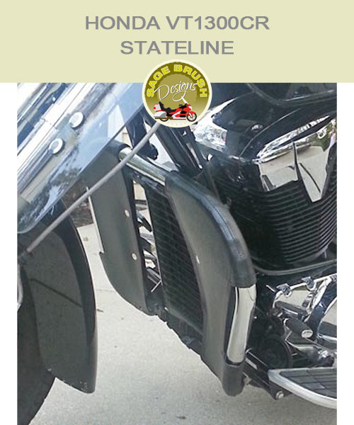 Honda VT1300CR Stateline OEM bar with black engine guard chaps