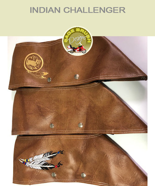 Indian Challenger tan engine guard chaps with feather embroidery