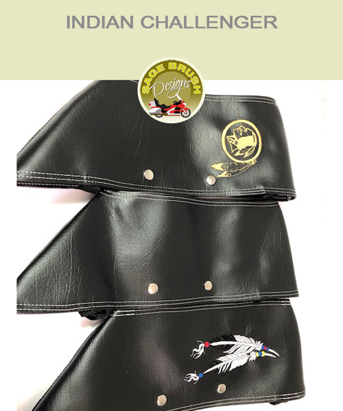 Indian Challenger black engine guard chaps with feather embroidery