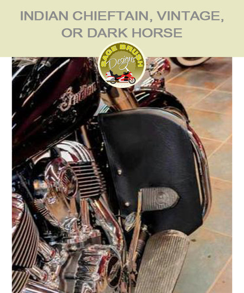 Indian Chieftain, Vintage, or Dark Horse with black vinyl engine guard chaps